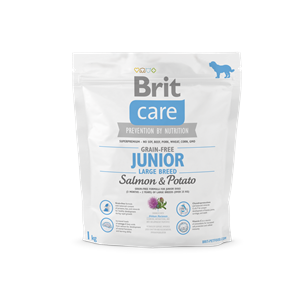 BRIT DOG CARE GRAIN FREE JUN LARGE SALMON&POT 1KG