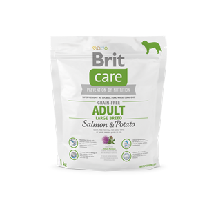 BRIT DOG CARE GRAIN FREE AD. LARGE SALMON&POT 1KG